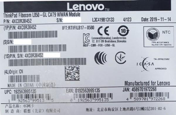 Lenovo ThinkPad Fibocom L850-GL CAT9 M.2 WWAN LTE Modul (4XC0R38452)